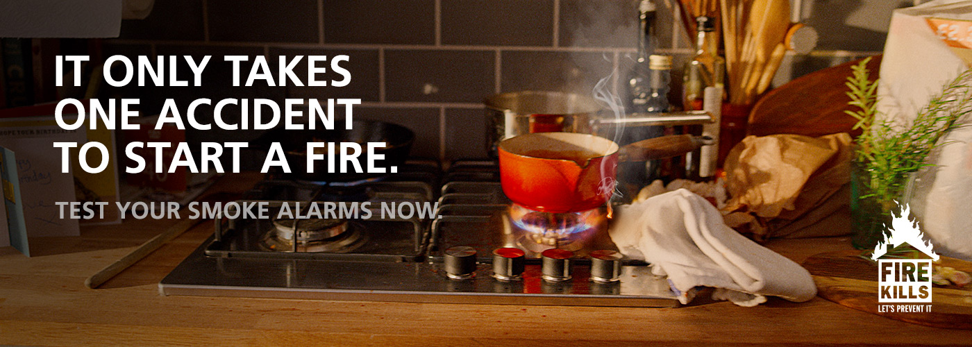 It only takes one accident to start a fire. Test your smoke alarms now.